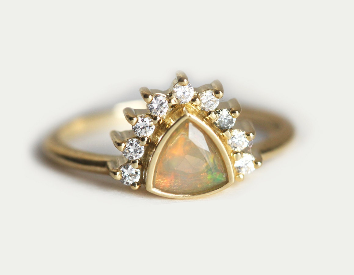 Opal Engagement Ring Trillion Engagement Ring Diamond By