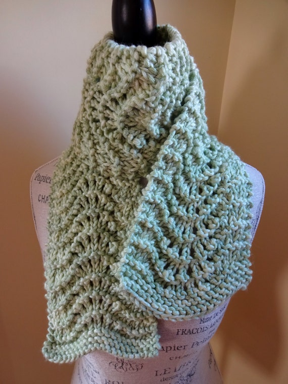 Feather And Fan Knitting Pattern Scarf : Feather and Fan Scarf Hand Knit Womens Scarf Fashion
