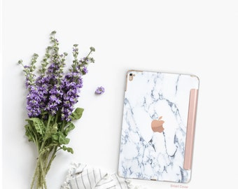 Platinum Edition Bianco Sivec White Marble with Rose Gold Smart Cover Hard Case for iPad Air 2, iPad mini 4 , iPad Pro , New iPad 9.7 2017