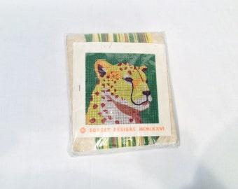 Leopard needlepoint template, Leopard art, Needle Pointers, Cheetah Needlepoint Kit, Vintage Nancy Carlson, #5432, Jungle Zoo