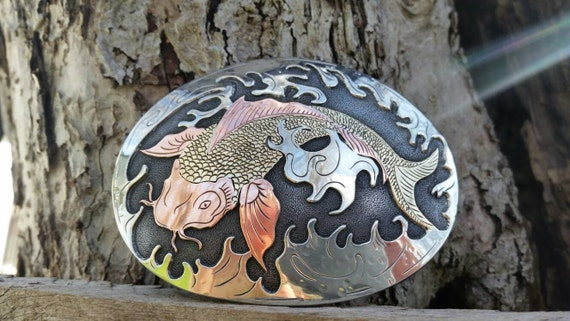Koi fish belt buckle asian carp buckle mixed by for Koi fish metal art