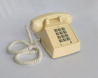 Vintage Phone, Push-Button Phone, 80s Telephone, Premier Telephone, Cream or White Decor, Retro Office, Desk Phone