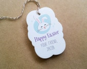Easter bunny favor tags - Customized Happy Easter tags - Cute rabbit Easter basket tags - kids personalized Easter gift tags (TH23)
