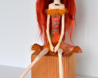 OOAK Art Doll, Sculpted Paper Clay Art Doll, Handmade Doll, Orange Red Suri Angora Mohair, TEAGAN