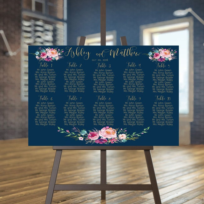Wedding seating chart printable Navy guests list printable – Guest Seating Chart Template