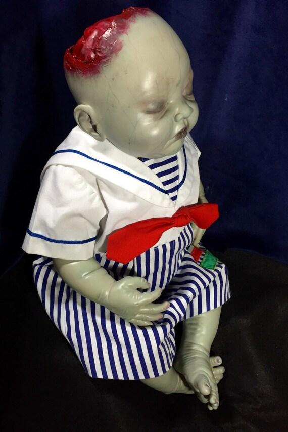 Oliver Nuclay Original Undead Brain Exposed Rotting Reborn Horror Doll Sea Sick Zombie Biohazard Baby