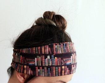Bookshelf Books Headband, Elastic Soft Double Layer Jersey Headband, Workout headband, Head Wrap, Running Fitness Headband Yoga Headband Y61