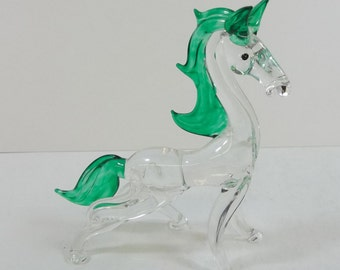 Blown Glass Horse Prancing Figurine Green Mane Vintage Art Glass