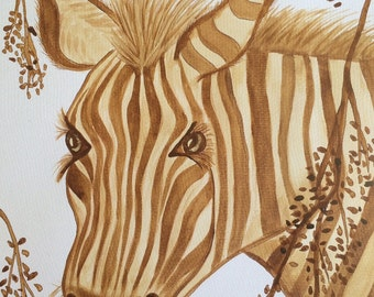 Zebra - Original Coffee Painting on Watercolour Paper