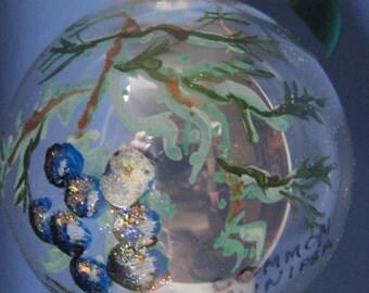 Glass Christmas ORNAMENT--Juniper Hand painted 1040