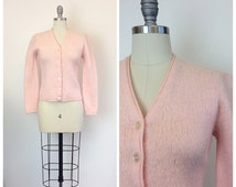 50s Pastel Mohair and Wool Sweater / 1950s Vintage Fuzzy Knit Cardigan / Small / Size 4