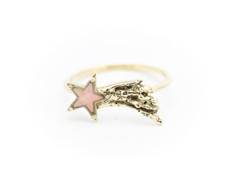 Shooting Star Ring, Opal Star Ring, Opal Ring, Celestial Jewelry, Space Jewelry, Recycled Ring, Unique Jewelry, Eco-friendly Jewelry
