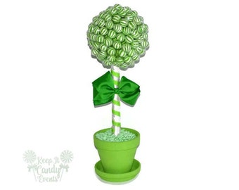 Green Lollipop Topiary, Green Candy Topiary, Green Wedding Centerpiece, Candy Buffet Decor, Lollipop Centerpiece, Candy Centerpiece