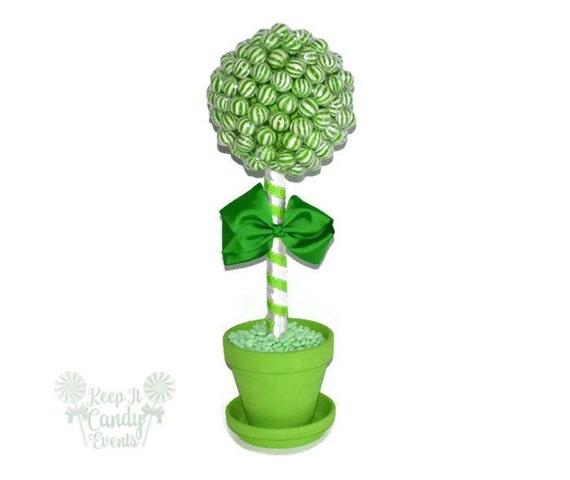 Green lollipop topiary candy wedding