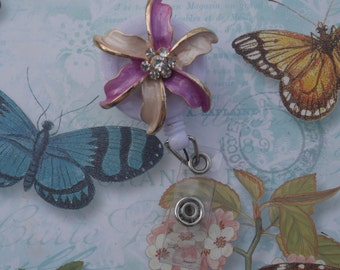 Elegant Oil Painted Rhinestones  Blossom,  Retractable ID Name Badge Holder.