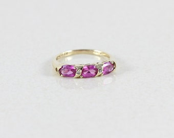 10k Yellow Gold Pink Sapphire and Diamond Ring Size 7 1/2
