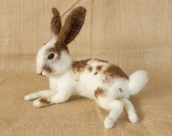 Made to Order Needle Felted Rabbit: Custom needle felted animal sculpture