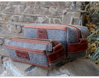 Felt & Waxed Leather Men's Toiletry Bag / Gift for him /Groomsmen Gift Bags / Cognac Brown Leather Dopp Kit / FREE Personalization
