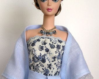 Silkctone Barbie Doll Handmade Blue flowers Dress OOAK