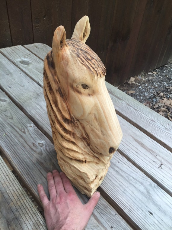 Horse chainsaw carving hand carved wood sculpture by