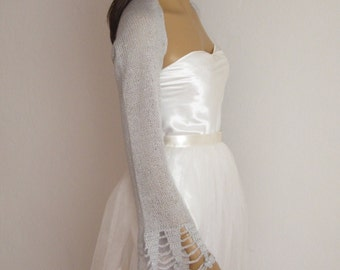 wedding Bolero, Silver Shrug, Evening Bolero, Wedding Shrug, Bridesmaid Shawl