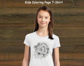 Coloring Book Page T-Shirt - Girls Flower