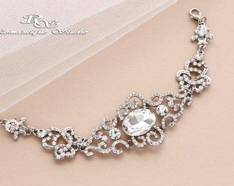 Rhinestone bridal cuff, Crystal  wedding bracelet, Rhinestone Wedding jewelry, Bridal bracelet, Bridal jewelry, Bridal accessories B0173