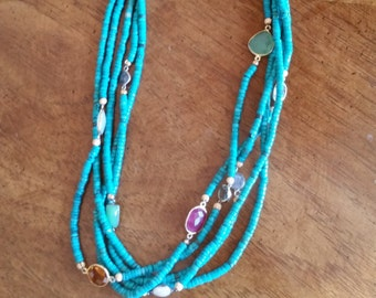 Turquoise and Gemstone Necklace, womens jewelry, December Birthday