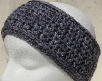 Crochet ear warmer headband - steel gray