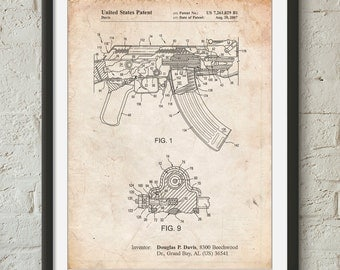 Ak-47 Bolt Locking Patent Print, Gun Gifts,  Assault Rifle, Gun Art, PP0701