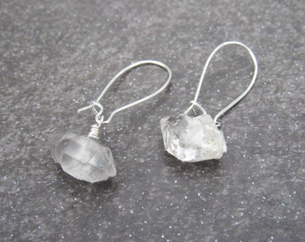 Silver Raw Diamond Earrings- Herkimer Diamond Earrings- Diamond Bridal Earrings- April Birthstone Earrings- Silver Diamond Earrings