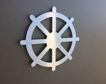 Tibetan Dharma Wheel Metal Wall Art - Buddhist Decor - Meditation Art - Spiritual Art - Wheel Decor - Silver Art