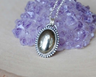 Sterling Silver Pyrite Necklae, Silver Pyrite Jewelry
