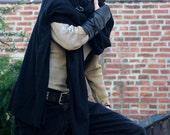 Post Apocalyptic Black Wrap Shawl Cloak Single Leather Vambrace, Lightweight Wrap Cloak Single Bracer, Black Leather
