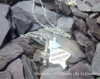 Hand Stamped Alice in Wonderland 'Curious Wanderer' Necklace, Alice Charm Necklace, Wonderland, Stamped Metal Jewellery, Stamped Jewelry.
