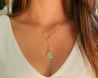 Green Chalcedony necklace, green chalcedony Lariat Necklace, Infinity Lariat Necklace, lariat necklace , gemstone necklace, RINECK085