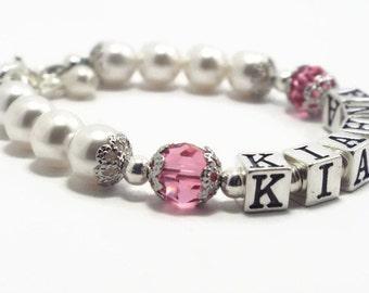 Name Bracelet, October Birthstone Bracelet, Baby Bracelet, Baby Jewelry, Baptism Bracelet, Baby Shower Gift, Flower Girl Bracelet (B113-30)