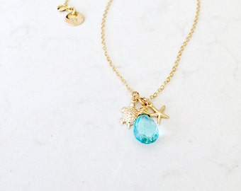 14k gold filled aquamarine quartz necklace turtle starfish custom initial aquamarine jewelry march birthstone beach wedding bridesmaids gift