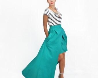 Maxi Skirt, High Low Skirt, Linen Skirt with Pockets, Plus Size Skirt, High Waisted Skirt, Floor Length Skirt, Detachable Skirt, FatBerry