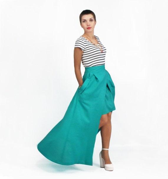 maxi skirt high low skirt linen skirt with pockets plus