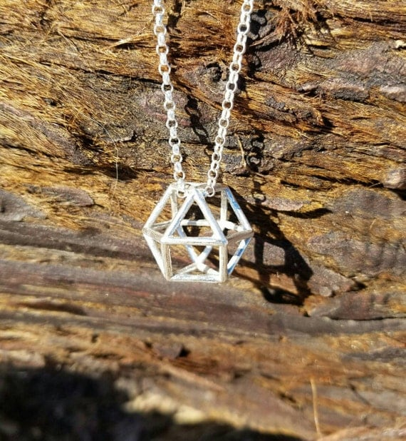 Cuboctahedron Vector Equilibrium Pendant in Recycled Sterling SIlver