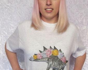 Stegosaurus Tshirt Dinosaur Tshirt Pastel Grunge Roses Pastel Tshirt Geek Tshirt Nerd Top Cool Oversized Top Cool womens tshirt