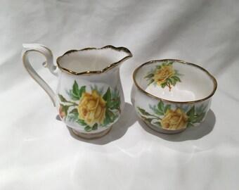 Royal Albert Tea Rose Yellow Mini Cream and Open Sugar Bowl Set