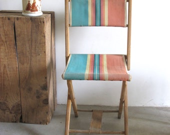 vintage French Wooden and Stripes Canvas & Folding Camp chair stool //