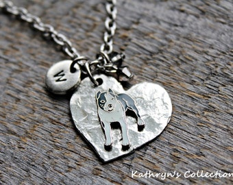 Pit Bull Necklace, Pit Bull Jewelry, Pit Bull Gift, Heart Dog Jewelry, Pit Bull Sympathy, Pit Bull Keepsake, AMerican Staffordshire Terrier