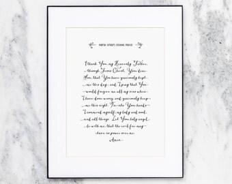 Martin Luther's Evening Prayer | Scripture Art Print  | Calligraphy | CP-NRD