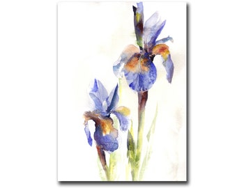 Original Watercolor Painting of Purple Irises, Watercolour Flowers Painting Art