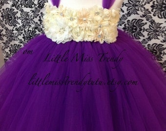 Purple Flower Girl Tutu Dress, Purple Tutu Dress, Purple and Ivory Tutu Dress, Purple Flower Girl Dress, Purple Ivory Tutu Dress,