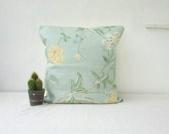 CLEARANCE Green floral pillow cover, light green vintage style cushion cover with yellow flower detail,, handmade in the UK