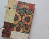 Sunflowers patchwork notebook, small journal, scrapbook, drawing book, sketch pad. Office supply.